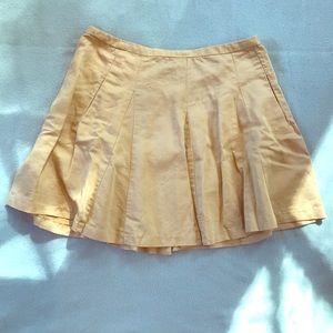 Yellow J. Crew Pleated Linen Skirt, size 10